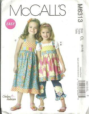 Mccalls M6313 Girl's Size 6-8 Tops, Dress, Belt, Jean Ruffle Sewing Pattern