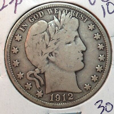 1912-P   VG-Fine   Barber Half Dollar   LITY and top of B,E,R