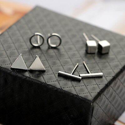 4 Pairs Women Triangle Shaped Silver Gold Black Color Alloy Stud Earring S