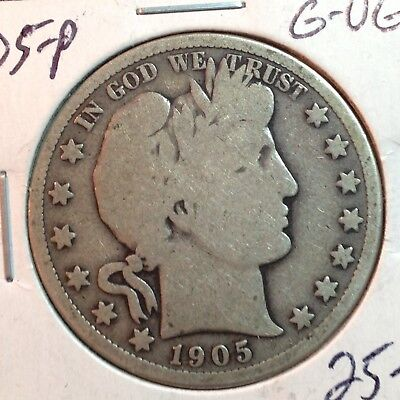 1905-P  G-VG   Barber Half Dollar   Y and part of T