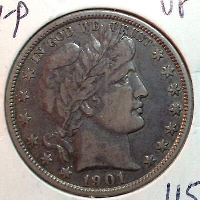 1901-P  VF    Barber Half Dollar   Full Liberty Coin