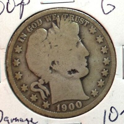 1900-P  G  Damage   Barber Half Dollar   Y and part of T