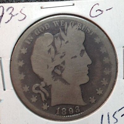 1893-S  G-  Barber Half Dollar  Y and part of L   Key Date