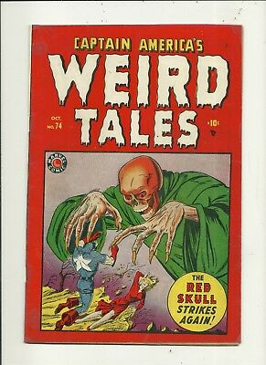 Captain America's Weird Tales # 74 Classic Red Skull Cover!! Restored!!
