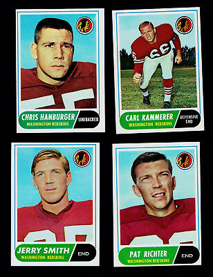 7 1968 Topps Redskins Cards #s 10 NM 62 Hanburger 94 114 140 192 Taylor 212 212