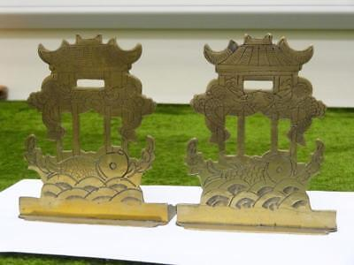 """Vintage CHINESE BOOKENDS PIERCED BRASS w/ DRAGONS PAGODA & KOI  5"""" / 13cms HIGH"""