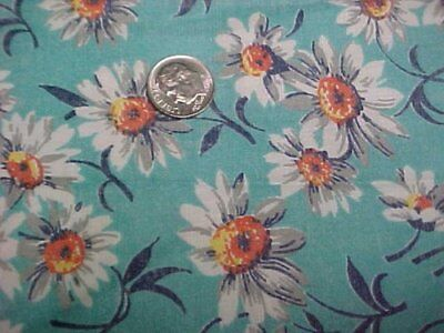 BEST Vintage Feedsack Quilt Fabric Doll Daisies on AQUA 40s Flour Sack WWII Era