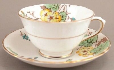 Plant Tuscan Hand Painted Cup Saucer England Yellow Blue Floral