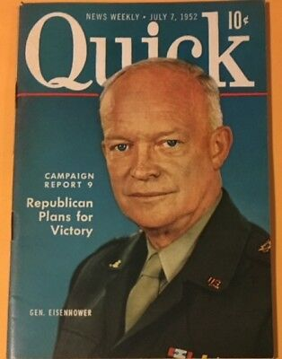 """72 Page 4 by 6"""" Quick Paper Magazine With Cover of Ike from 1952"""
