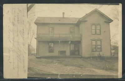 """OK Enid RPPC 1908 RESIDENTIAL HOME HOUSE """"My Old Sweet Home""""  One of a Kind"""