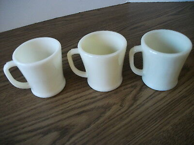 Anchor Hocking Fire-king D Handle Flat Bottoms Ivory Milkglass Cup Mugs Lot of 3