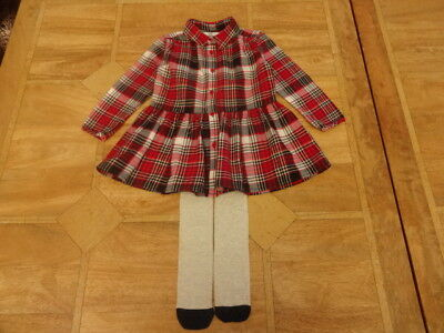 Girls M&S Red Black White Gold Tartan Shirt Dress & Tights - Age 18-24m
