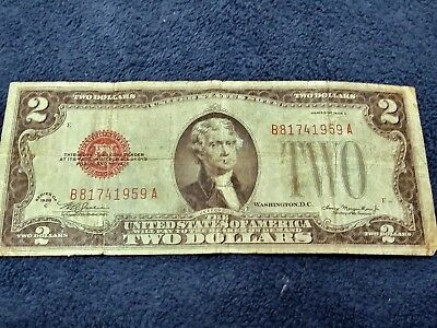 1928-C $2 US Note Red Seal Very Good Cond. United States Notes Two Dollar Bill