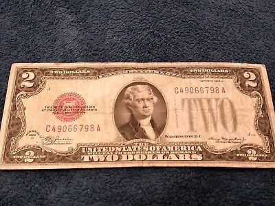 1928 D Series $2 Two Dollar Red Seal Note Bill US Currency