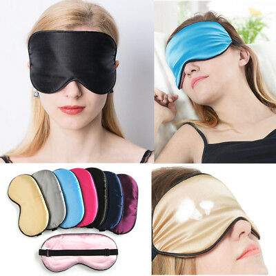 Pure Silk Sleep Rest Eye Mask Padded Shade Cover Travel Relax Aid Blindfolds New