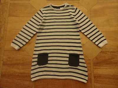 Girls Lupilu Cream & Grey Striped Jumper Dress with Pockets - Age 18-24m