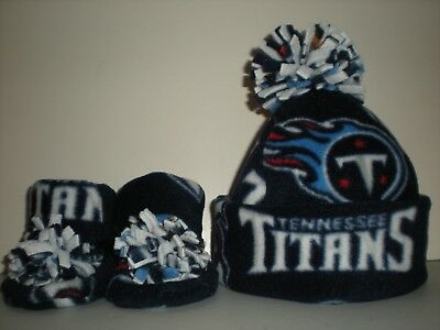 133486d41e594 TENNESSEE TITANS BABY HAT HANDCRAFTED newborn BEANIE   BOOTIES FLEECE SET  NFL