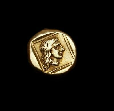 LESBOS. Gold el. from Mytilene. Nymph with flowing hair/ Apollo. Rare Greek coin