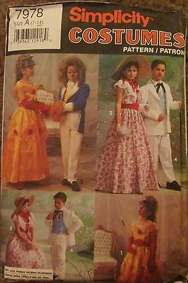SIMPLICITY Sewing Pattern #7978 OLD SOUTHERN & FAIRYTALE COSTUME '92 Sz 7-14 CUT