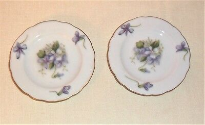 2 LOVELY ANTIQUE HAND PAINTED ROSETTI SAUCERS Spring Violets OCCUPIED JAPAN