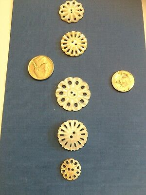 lot of vintage carved mop flower shaped buttons