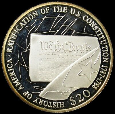 2001 Liberia $20 Silver Proof - US Constitution - Toned - KM#716 PG 686