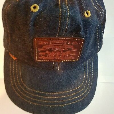 Levis XX Denim Jean Leather Strapback Trucker Hat Vintage Vtg Orange Tab 70s 80s