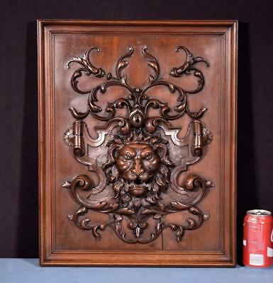 *Antique French Panel in Solid Walnut Wood with Lion Face Highly Carved
