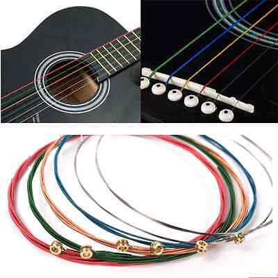 1 Set 6pcs Rainbow Colorful Color Strings for Acoustic Guitar High Quality