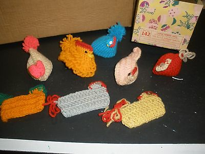 lot of vintage crochet Easter handmade chickens to put over your eggs