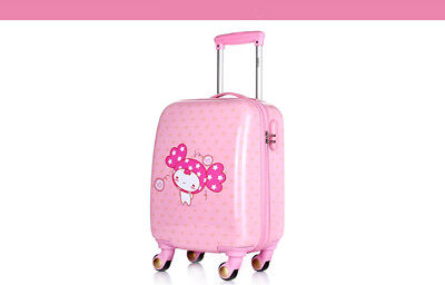 A844 Pink Cartoon Doll Universal Wheel Children Suitcase Luggage 18 Inches W