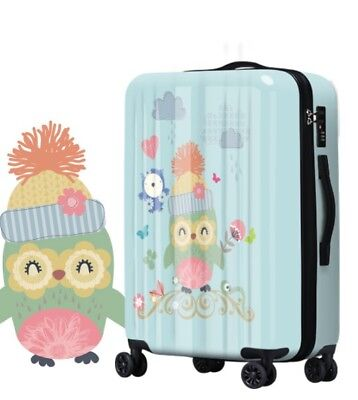 A611 Fashion Owl Universal Wheel ABS+PC Travel Suitcase Luggage 24 Inches W