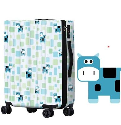 A550 Lock Universal Wheel Blue Cows Travel Suitcase Cabin Luggage 20 Inches W