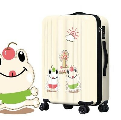 A689 Lock Universal Wheel Cartoon Frogs Travel Suitcase Luggage 20 Inches W