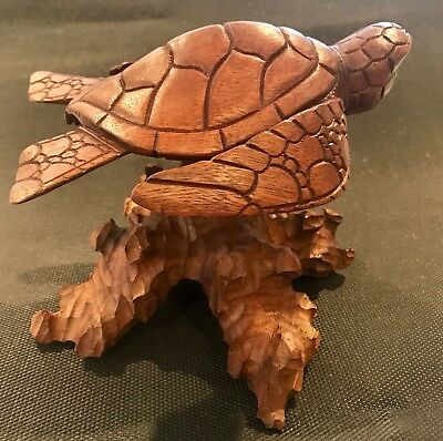 Hand carved wooden Sea Turtle On Stand