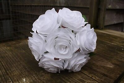 7 x PURE WHITE SILK ROSES 7cm TIED BUNCH / SMALL BOUQUET