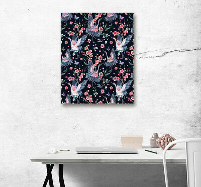 1PC Canvas Painting Unframed Art Crane Butterfly Cherry Printed Home Wall Decor