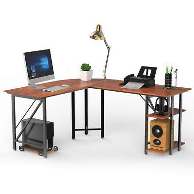 L Shaped Corner Computer Desk PC Laptop Study Table Workstation with CPU Stand