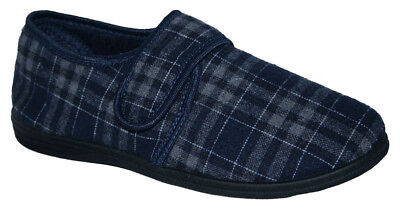 Mens Navy Check Touch Close Easy Fit Wider Fit Bedroom Sliper Sizes 7-11
