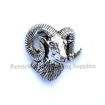 One Pewter Badge For Walking Stick Making Rams Head