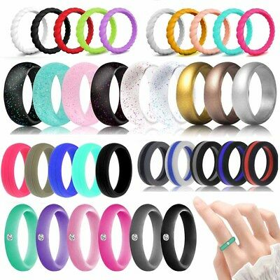 Fashion  Mens Womens Wedding Ring Flexible Rubber Silicone Band Active Sport Gym