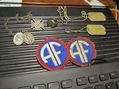 Lot of 7 WWII US Dog Tags T-43 Trench art ring 2 patches 2 Sterling medallions