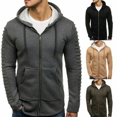 Plain Mens Hoodie Pleated Zip Up Hoody Fleece Jacket Sweatshirt Hooded Coat Tops