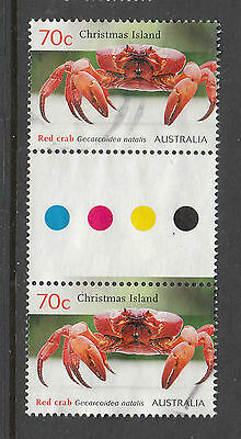 Christmas Island  2014 Red Crab Used gutter pair stamps