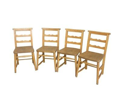 Set of 4 Church Chapel Chairs without Bible Backs - Reclaimed Seats