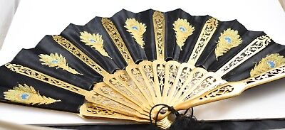 Lovely Antique L T Piver Black Silk & Lace Peacock Feathers Fan in Original Box