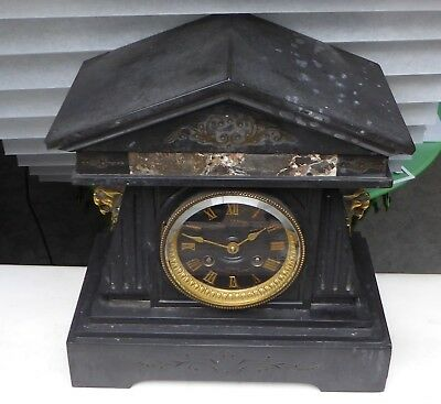 Antique slate & marble Auguste Lemaire clock with brass lions for repair.