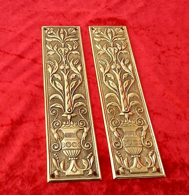 """Fine Quality Pair Of 11"""" Art Nouveau Style Solid Brass Door/Finger Plated 1.3 Kg"""