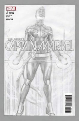 MIGHTY CAPTAIN MARVEL #1, ALEX ROSS ONE PER STORE SKETCH VARIANT, Marvel (2017)