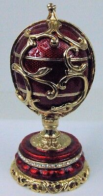 Russian Faberge Red Replica with Golden Swirls/Flowers inside  E09-10A-05